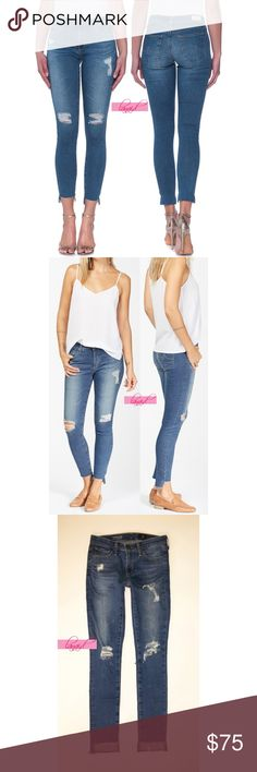 """AG Middi Ankle Mid-Rise Legging Iconic Destroyed PRICE IS FIRM AND NON-NEGOTIABLE. NO OFFERS. LOWBALLERS WILL BE BLOCKED. NO TRADES. Adriano Goldschmied """"Middi Ankle - Mid-Rise Legging Ankle"""" jeans in Iconic, size 24. Skinny. Signature AG logo on back pockets. All distressing is intentional, including the cut-away hems. Some of the distressing on the knees is a bit larger now--see close-up photos of the knee rips. 98% Cotton, 2% Polyurethane. Ag Adriano Goldschmied Jeans Skinny"""