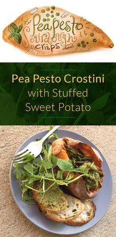 Pea Pesto With Crostini Stuffed Sweet Potato