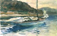 Idle Sails, John Singer Sargent (American, Florence London), Watercolor and graphite on white wove paper John Singer Sargent Watercolors, Sargent Art, The Draw, Klimt, Studio Portraits, American Artists, Watercolor Paintings, Watercolour, Watercolor Landscape
