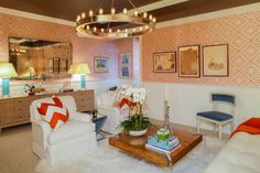 Greg McKenzie added fresh color and pattern to this vibrant lounge space.