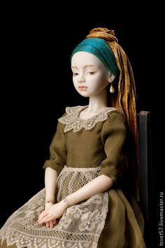 """handmade porcelain doll jointed """"Girl with a Pearl Earring."""" Handmade"""