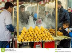 Istanbul, Turkey - January 06, 2018: Man Selling Boiled And Roasted Corn In Touristic Eminonu District Of Istanbul, Turkey Editorial Image - Image of district, fast: 116892555 Istanbul City, Istanbul Turkey, Roasted Corn, January, Editorial, Vegetables, Image, Food, Roast Corn