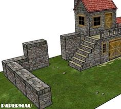 PAPERMAU: Stone Staircase And Walls Add-Ons For The Old Two Storey Stone House by Papermau - Download Now!