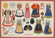 A beautiful vintage dress up paper doll by National Museum Of Play Online Collections. This is a Norske Bunader Paper Doll, with Norwegian National Costumes. Norway Viking, Norwegian Christmas, Nordic Christmas, Paper Art, Paper Crafts, Barbie, Up Book, Thinking Day, Vintage Paper Dolls