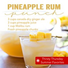 Thirsty Thursday – Pineapple Rum Punch - - Pineapple Rum Punch – the perfect mix of tropical flavors in one amazing and easy to make party drink! Talk about a delicious flavor combination! Serve your signature drink with skewers of fresh pi…. Malibu Rum Drinks, Liquor Drinks, Bourbon Drinks, Coconut Rum Drinks, Mixed Drinks With Malibu, Blended Alcoholic Drinks, Tropical Mixed Drinks, Rum Liquor, Rum Rum