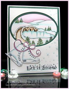 winter ice skating card colored with Copics - DRS Designs images
