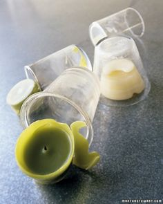 Awesome hack for getting wax out of glass votives: Pop in the freezer and the wax shrinks, pops out.