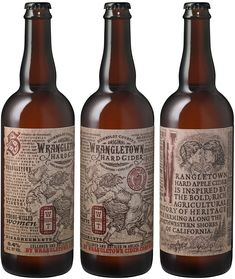 Auston Design Group - Wrangletown Hard Cider — World Packaging Design Society│Home of Packaging Design│Branding│Brand Design│CPG Design│FMCG Design Cool Packaging, Beverage Packaging, Bottle Packaging, All Beer, Best Beer, Wine Label Art, Hard Apple Cider, Pin Up, Beers Of The World