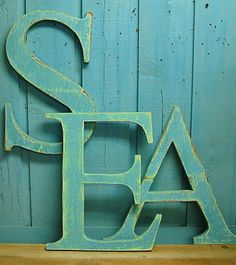 SEA Large Wooden Capital Letters Alphabet Sign by CastawaysHall, $105.00
