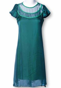 Green Short Sleeve Loose Silk Chiffon Dress