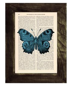 Blue Butterfly Dictionary Book Print - Altered art on upcycled book pages on Etsy, 6,25 €