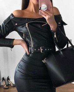 Shop Off Shoulder Zipper Design Belted PU Dress right now, get great deals at Chiquedoll Look Fashion, 90s Fashion, Winter Fashion, Womens Fashion, Fashion Online, Belted Dress, Bodycon Dress, Concert Looks, Online Dress Shopping
