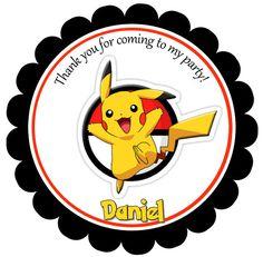 Imprimible etiquetas Favor de Pikachu Pikachu gracias