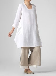 Linen Long Sleeve Top With Double-Layer Cropped Pants Set