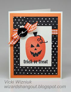 This happy jack-o-lantern and festive bow are sure to bring smiles from this handmade Halloween card.