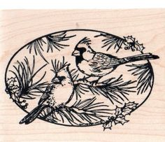 New NORTHWOODS RUBBER STAMP cardinal birds holly Free USA ship winter oval