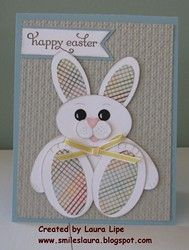 handmade card from Smiles, Laura ... another adorable punch art bunny ... bunny sitting up ... like the printed paper used on the ears and for paw pads ...