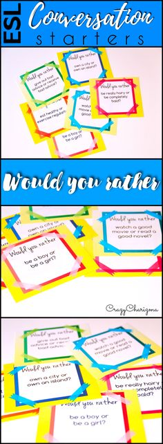 Looking for conversation questions to engage adults and teenagers to speak more? Look no further, take a look at these Would you rather? conversation starters. They are perfect for Pre-Intermediate to Advanced level ESL students! Can be also used with ELA / ELL students. | CrazyCharizma