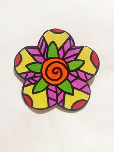 MOD Abstract Flower Hand Painted Brooch / Pin by Vivian Estalella