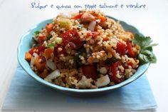 """Il """"Bulgur e quinoa con seppie salmone e verdure"""" è un piatto unico che potete gustare sia caldo che freddo, provate anche voi a realizzarlo.. Vi piacerà!"""