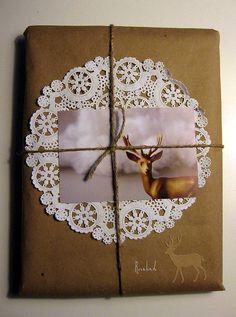 future mullins² packaging idea?? doilie, photo, kraft paper, string.
