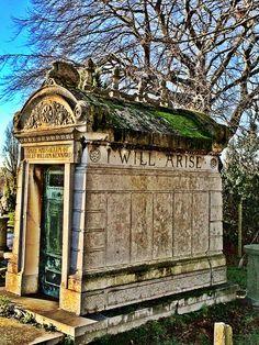 Kensal Green cemetery gravestones, London.