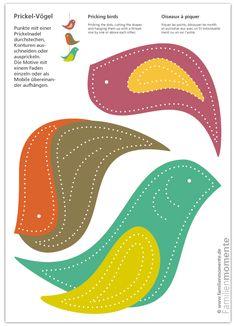 Prickel-Vögel / Bastelbogen zum Prickeln für Deko-Mobile mit Vögeln Paper Crafts For Kids, Preschool Crafts, Diy For Kids, Fun Crafts, Paper Mobile, Infant Classroom, Wood Toys, Spring Crafts, Baby Quilts