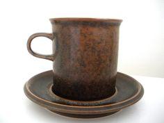 Arabia Ruska Set of 4 Mugs and Saucers by rippleandplum on Etsy, $52.00