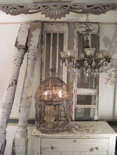 Shabby chic birdcage lamp