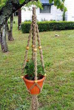 Jute Macrame Plant Hanger Handmade Natural Hanging by Macramaking, $30.00