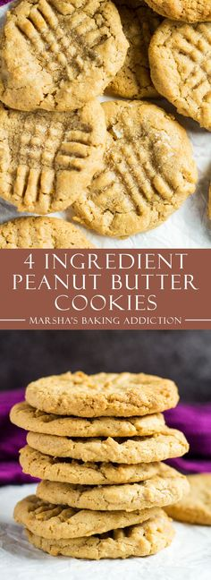 Ingredient Peanut Butter Cookies - Deliciously soft and chewy peanut butter c. - Sugar Ingredient Peanut Butter Cookies - Deliciously soft and chewy peanut butter c. Paleo Dessert, Peanut Butter Dessert Recipes, Peanut Butter And Co, Dessert Oreo, Gluten Free Peanut Butter Cookies, Cookie Recipes, Peanut Cookies, 4 Ingredient Cookies, 4 Ingredient Peanut Butter Cookie Recipe