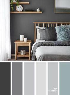 11 Gorgeous Bedroom in Grey Hues - Grey Color schemes grey bedroom color bedroomcolor 849069335980998565 Relaxing Bedroom Colors, Small Bedroom Colours, Best Bedroom Colors, Romantic Bedroom Colors, Beautiful Bedrooms, Home Decor Bedroom, Bedroom Furniture, Black Bedroom Decor, Dark Home Decor