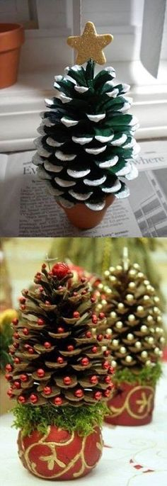 Mini Christmas Tree in pine cones - Christmas decorations outside ☃️ - . - Mini Christmas Tree in pine cones – Christmas decorations outside ☃️ – - Noel Christmas, Christmas Crafts For Kids, Homemade Christmas, Christmas Projects, Holiday Crafts, Christmas Wreaths, Christmas Gifts, Christmas Ornaments, Diy Ornaments