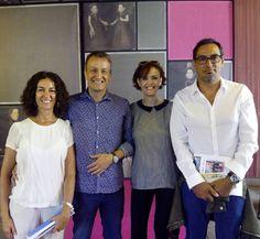 María López Insausti (Gerencia) y Raquel Anadón (Programación) con Fernando Rivares (Concejal de Cultura y Economia) y Victor Lopez (Gerente del Patronato de Artes Escénicas) en la presentación de la Quinta Temporada del Teatro de las Esquinas.