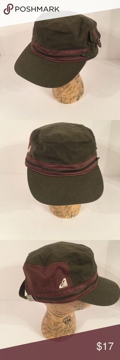 Roxy Zipper Military Hat Never worn made of 100% cotton adjustable back Roxy Accessories Hats