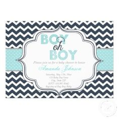 Boy Oh Boy! Chic Chevron Baby Shower Invitation. A cute announcement card with dark blue chevron background, and lighter colors of blue and gray.
