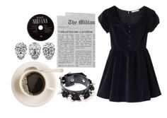 """Black."" by demonicbaby ❤ liked on Polyvore featuring velvet, coffee, floral, nirvana, dress, black, leather, choker and spiked"