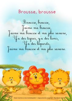 Paroles_Brousse bush I love the bush - Tout sur le jardin d'enfants 2020 French Education, Kids Education, Prom Songs, French Poems, French Worksheets, French Class, Kids Songs, Learn French, French Language