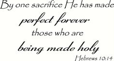 Hebrews 10:14 Wall Art, By One Sacrifice He Has Made Perfect Forever Those Who Are Being Made Holy, Creation Vinyls Creation Vinyls http://www.amazon.com/dp/B00TDN8HMI/ref=cm_sw_r_pi_dp_7wA2ub00JM32B