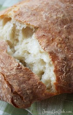 Easy No Knead Ciabatta Bread recipe from Jenny Jones (JennyCanCook) No Dutch oven needed to make this no knead crusty loaf.
