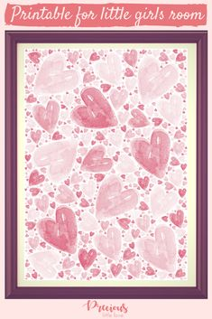 Remind your little one how loved they are with this hand-painted watercolour hearts print. Watercolor Heart, Watercolour, Childrens Wall Art, Little Girl Rooms, Pll, Heart Print, Hard Work, Make You Feel, Different Colors
