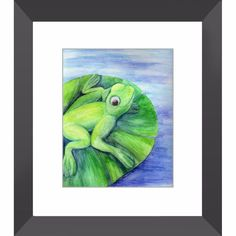 Cleanse Replenish Adapt - Framed Print of Watercolor Pencil Frog Fine Art