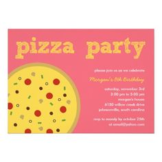 Shop Pizza Party Invitation (Pink) created by paper_girl. Personalize it with photos & text or purchase as is! Kids Pizza Party, Pizza Party Birthday, Kids Birthday Party Invitations, Pink Invitations, Custom Invitations, Birthday Party Themes, Birthday Ideas, Party Entertainment, Childrens Party
