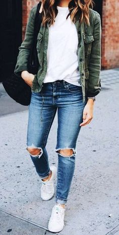 #fall #outfits  women's distressed blue jeans, white crew neck shirt and green chambray button-up jacket outfit