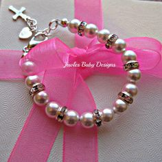 Infant SWAROVSKI Baby bracelet Gift set for by JewlesDesigns, $26.00