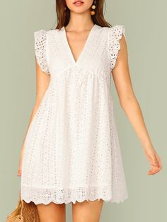 Ruffle Armhole Eyelet Embroidered Smock Dress Designer dresses Fashion outfits Dress skirt Mom dress African dress Clothes for women Smock Dress, Tee Dress, Babydoll Dress, Ruffle Dress, Striped Dress, Eyelet Dress, Smocked Dresses, Maxi Dresses, Dress Skirt