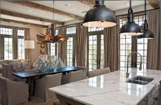 lights for the island, ceiling beams Beach House Floor Plans, Kitchen Nook, Kitchen Decor, Beautiful Kitchens, Dream Kitchens, Custom Window Treatments, Dining Room Table, Dining Rooms, Custom Homes