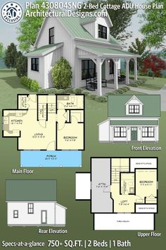 Casa Loft, Sims House Plans, Casas The Sims 4, Tiny House Design, Small Home Design, Cottage Design, 2 Bedroom House Plans, Guest House Plans, Small Cottage House Plans