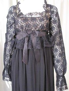 Black regency devore dress
