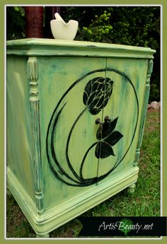 Come check out the latest Beat up ANTIQUE Music Cabinet turned Hand Painted HAPPY HOPPY Homebrew Bar http://arttisbeauty.blogspot.com/2014/05/beat-up-antique-music-cabinet-turned.html #hometalktuesday #mommyiscoocoo #paintedfurniture #hops #homebrew #brewing #artisbeauty #furnituremakeover #artwork antique-music-cabinet-turned-hand-painted-hop-bar-homebrew-art